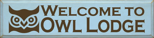 Custom Wooden Painted Sign 9x36 Baby Blue Painted board with Brown text  Welcome to Owl Lodge