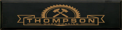 9x36 Black Painted board with Toffee text  Thompson Woodworking Custom Wood Painted Sign