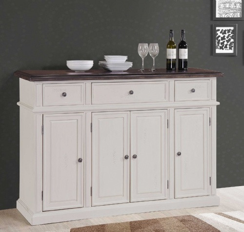 """Cityside Solid Wood Buffet Server 58""""W x 18""""D x 40""""H White Sand with Mocha Stained Top"""