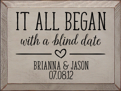 """It All Began... Custom Couples Wood Painted Sign 9x12"""""""