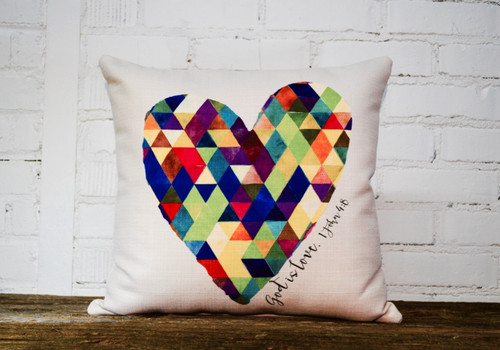 "Square Pillow Vibrant Multicolor Heart Patchwork 16 x 16 With Message ""God is Love"""