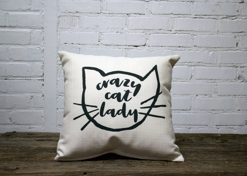 Square Pillow Crazy Cat Lady 16 x 16 Gray Whiskers Cat Outline