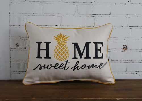 "Home Sweet Home Rectangular Pillow  20""W x 12""H Cream Linen With Yellow Pineapple &  Gray Lettering"