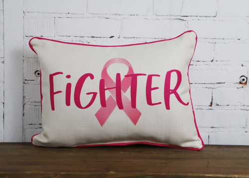 Rectangular Pillow Breast Cancer Fighter Ribbon Theme 20w x 12H
