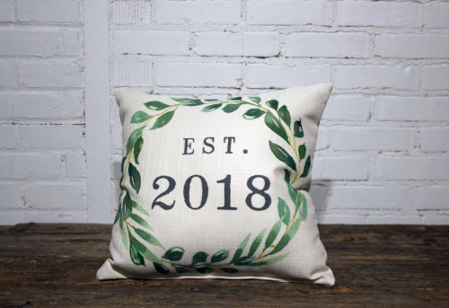 Personalized Square Pillow Established Year 16 x 16 With Green Wreath