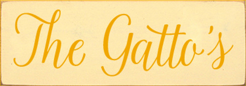 3.5x10 Baby Yellow board with Tangerine text  The Gatto's