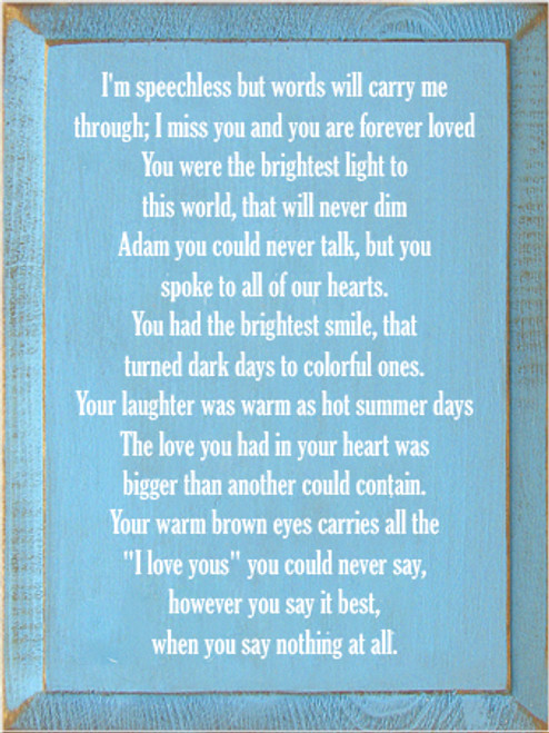 "9x12 Light Blue board with White text  I'm speechless but words will carry me through; I miss you and you are forever loved You were the brightest light to this world, that will never dim Adam you could never talk, but you spoke to all of our hearts. You had the brightest smile, that turned dark days to colorful ones. Your laughter was warm as hot summer days The love you had in your heart was bigger than another could contain. Your warm brown eyes carries all the ""I love yous"" you could never say, however you say it best, when you say nothing at all."
