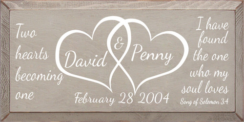 9x18 Putty board with White text  Two hearts becoming one David & Penny February 28 2004 I have found the one who my soul loves Song of Solomon 3:4