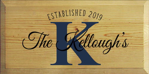9x18 Butternut Stain board with Black and Navy Blue text  Established 2019 The Kellough's