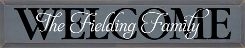 7x36 Slate board with Black & White Lettering The Fielding Family