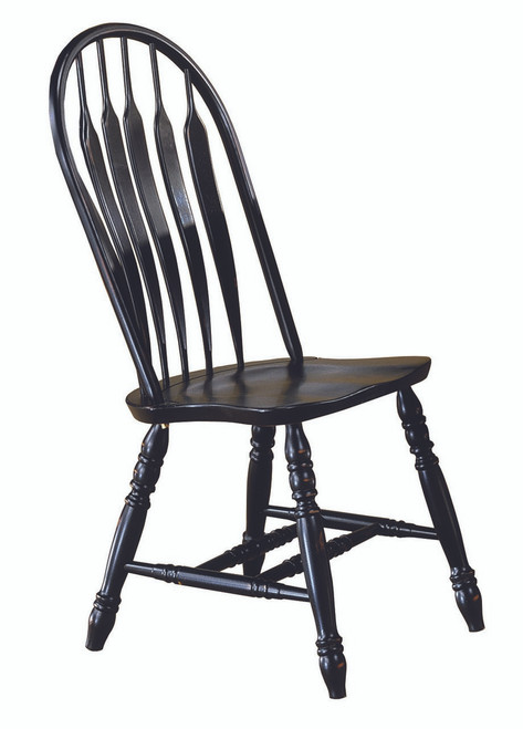 Solid Wood Monarch Chair Antique Black Contour Back