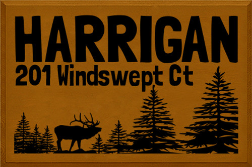 Custom Wood Painted Sign Harrigan 201 Windswept Court 24x36 Caramel Board with Black Lettering