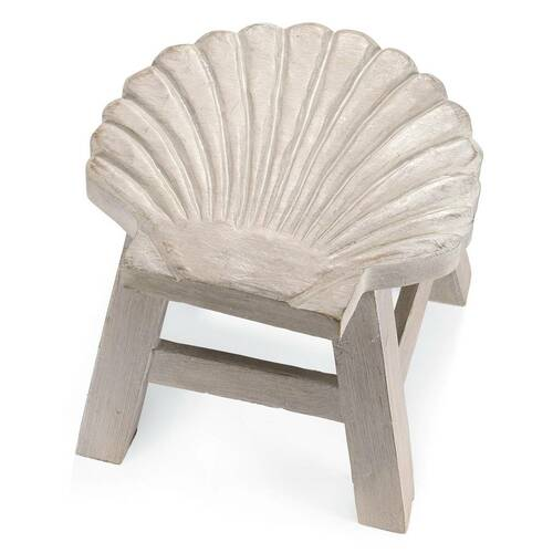 Scallop Carved Wooden Foot Stool