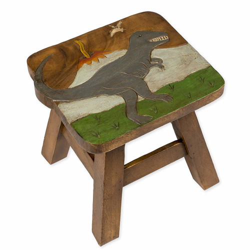 Tyrannasaurus Rex Carved Wooden Foot Stool
