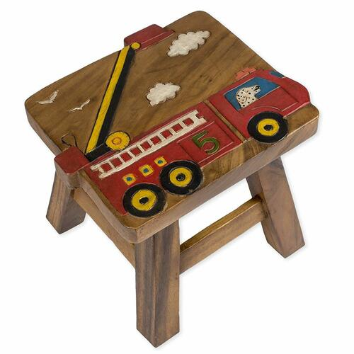 Fire Truck Carved Wooden Foot Stool
