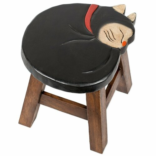 Sleeping Cat Carved Wooden Foot Stool