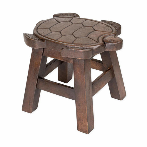 Turtle Carved Wooden Foot Stool