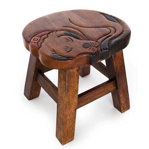 Sleeping Dog Carved Wooden Foot Stool