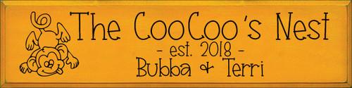 9x36 Tangerine board with Black text  The CooCoo's Next  est. 2018  Bubba & Terri