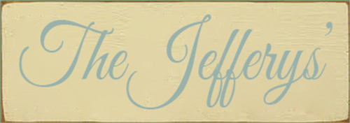 3.5x10 Cream board with Sea Blue text  The Jefferys'