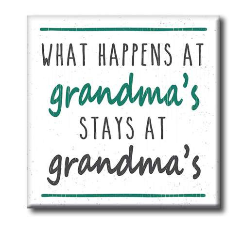 "What Happens At Grandma's Stays At Grandma's  4""x4"" Self-Standing Block Wood Sign"