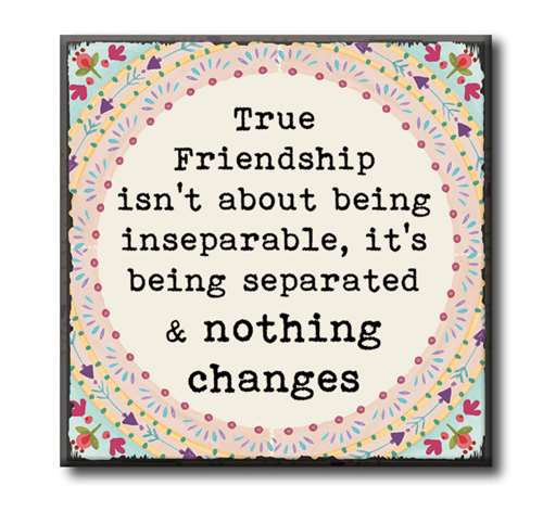 """True Friendship Isn't About Being Inseparable, It's Being Separated & Nothing Changes  4""""x4"""" Self-Standing Block Wood Sign"""