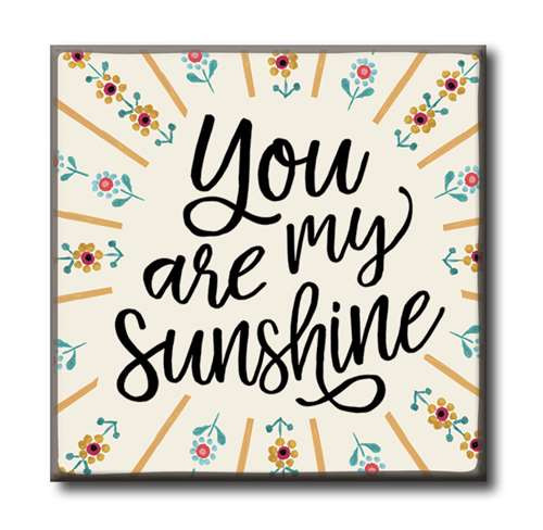 "You Are My Sunshine  4""x4"" Self-Standing Block Wood Sign"