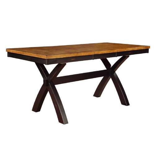 Chatham X Base Solid Wood Pub Table 36 x 60 With 18 Inch Self Storing Leaf  Pecan & Black Finish