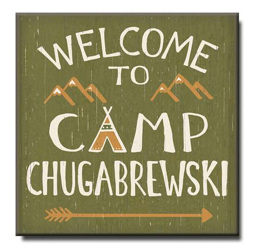 "Welcome To Camp Chugabrewski Wooden Sign  6""x6""x1"" Self-Standing Block Wood Sign"