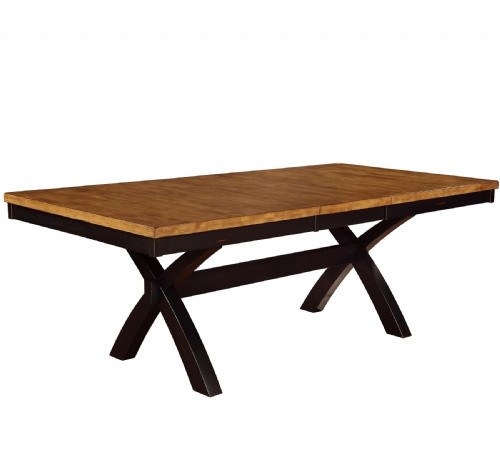 X Base Solid Wood Dining Table Chatham 42 x 66 +18 Inch Self Storing Leaf  Black & Pecan Finish