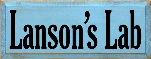 7x18 Light Blue board with Black text  Lanson's Lab