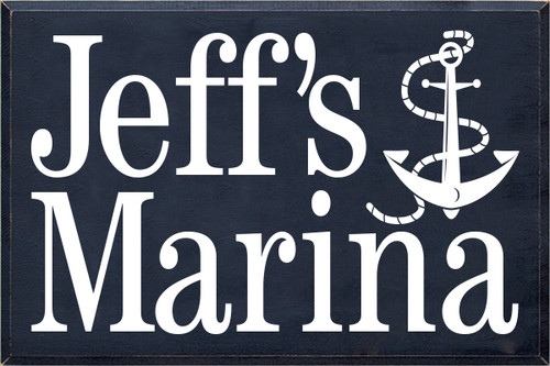 24x36 Navy Blue board with White text  Jeff's Marina