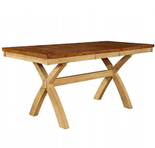 Chatham X Base Solid Wood Pub Table 36 x 60 With 18 Inch Self Storing Leaf  Pecan & Almond Finish