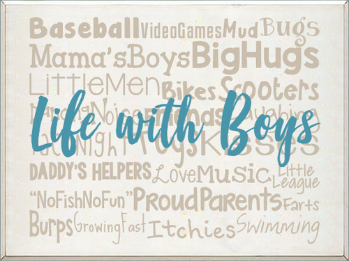 18x24 White board with Putty and Turquoise text  Life With Boys