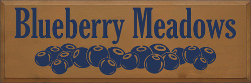 12x36 Toffee board with Navy Blue text  Blueberry Meadows