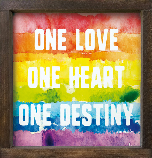 One Love. One Heart. One Destiny. - Bob Marley Wood Framed Sign with watercolor rainbow background