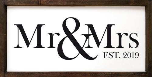 Mr & Mrs Est 2019 Framed Wooden Sign