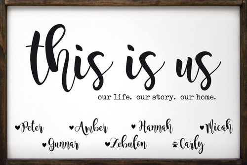 This is us. Our life. Our story. Our home. with personalized family names Framed Wooden Sign