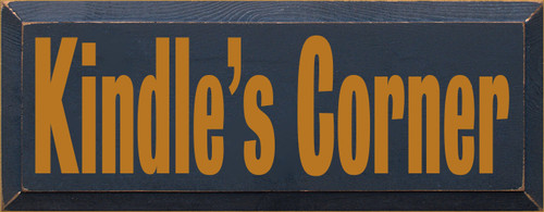 Customized Wood Painted Sign   Kindle's Corner 7x18 Navy board with Gold text