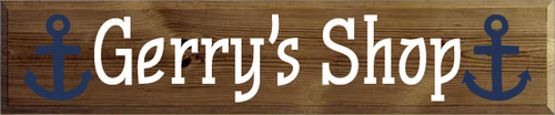 10x48 Walnut Stain board with White text Gerry's Shop
