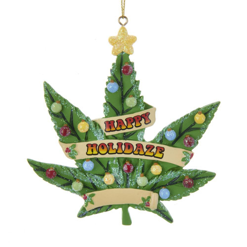 Happy Holidaze Cannabis/ Marijuana Leaf Ornament