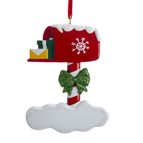 Red Mailbox Ornament For Personalization