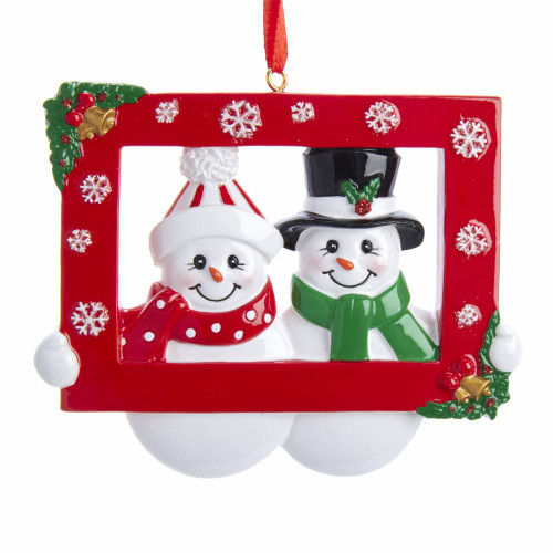 Snow Couple Photo Prop Ornament For Personalization