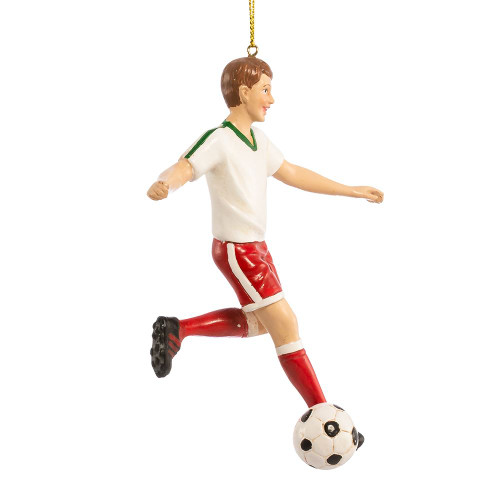 Brown Haired Soccer Boy Ornament