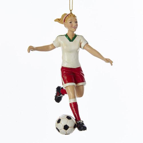 Blonde Soccer Girl Ornament