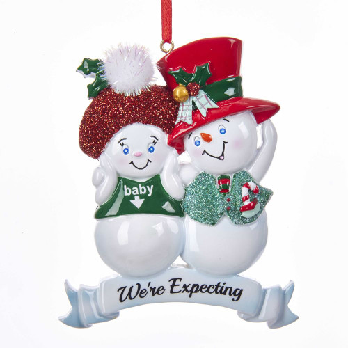 "Snow Couple ""We're Expecting"" Ornament"