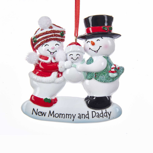 New Mommy and Daddy Snow Family Ornament For Personalization