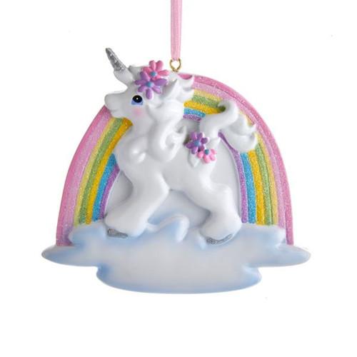 Unicorn Rainbow Ornament For Personalization