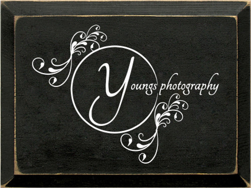 9x12 Black board with White text  Youngs Photography