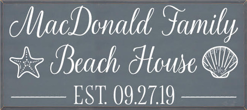 CUSTOM Wood Painted Sign - The MacDonald Family Beach House 24x54  Slate Board With White Lettering